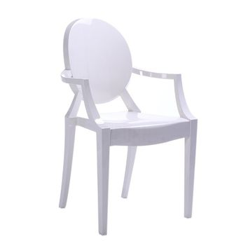 "Modern White Reproduction Philippe Starck ""Louis"" Ghost Armchair"