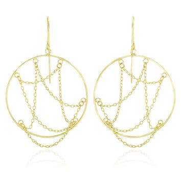 14K Yellow Gold Cable Chain Web Design Open Circle Earrings