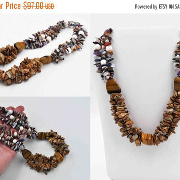 ON SALE Vintage Sterling Silver Multi Stone Necklace, Triple Strand, Bead, Boho, Multi Color, Chunky, Semi Precious, Absolutely Fab! #b844