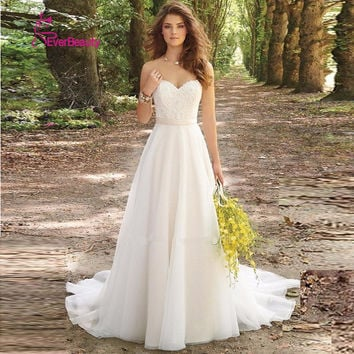 Vestido De Noiva 2016 New Stock White/Ivory Louisvuigon Chiffon Embroidery Beach A-Line Wedding Dress 2016 Wedding Gowns