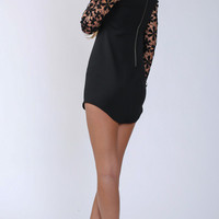 Black V Neck Bodycon Dress With Lace Sleeve