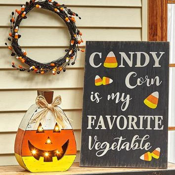 Candy Corn Halloween Decor Wall or Easel Sign or Lighted Jack O' Lantern