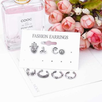 5pcs Bohemian retro earrings set to join the United States Sun Moon Lake pendant hand hollow earrings suit