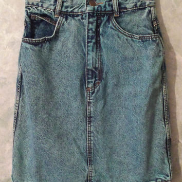 Vintage 80s Acid Wash High Waisted Denim Skirt, Hipster High Waist Skirt, Jean Skirt, Kelly Kapowski