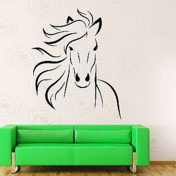 Wall Decal Animal Horse Head Mustang Freedom Sticker Unique Gift (z3207)