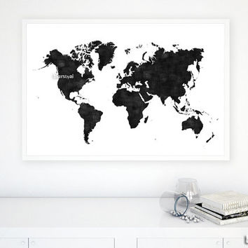 "36x24"" Printable world map, black & white wall art, black map, distressed vintage texture map poster, map pinboard, gift for him - map133 C"