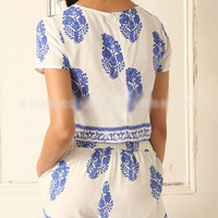 Vintage Boho casual leaves two piece Short Sleeve Cropped Short Tops Shorts Suit