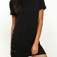 Black Round Neck Lace-Up Design Mini Dress