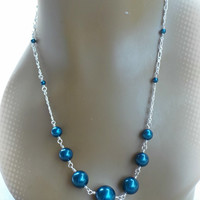 Chunky Petrol Pearl Chain Necklace