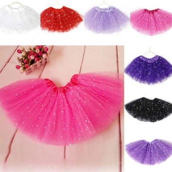 Cute Girls Kid Princess Tulle Tutu Skirt Bling Sequins Ballet Dance Dress For 2-7Y = 1958697220