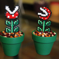 Super Mario Inspired Tiny Potted Piranha Plant. Two Different Models. Detachable.