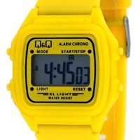 Q&Q #L116J012Y Unisex Colorful Yellow Alarm Chrono LCD Digital Watch