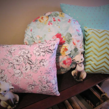 handmade set of 4 shabby chic pastel romantic baby girl nursery REVERSIBLE pillows.