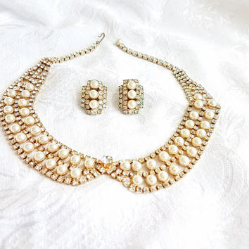 Vintage Pearl Rhinestone Bridal Set, Bib collar Rhinestone Pearl Necklace and Clip on Earrings, Vintage Wedding Jewelry, Vintage Bridal Set