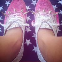 Vintage polka-dot keds with spikes and pink/fuchsia ombré dip dyed woman size 8 one of a kind