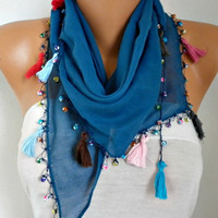 Spring Blue Tasseled Scarf Easter Cotton Necklace Evil Eye Bead Cowl Gift Ideas For Her Women's Fashion Women Scarves Mother's Day Gift