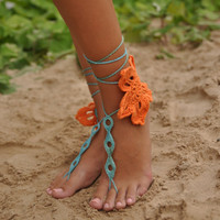 Tropicana Crochet Barefoot Sandals, Nude shoes, Foot jewelry, Wedding, Victorian Lace, Sexy, Yoga, Anklet , Bellydance, Steampunk, Beach Poo