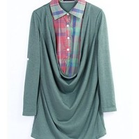 FREE SHIPPING Green Plaid Shirt Collar Shirt Two-Piece T-shirt HXA1631gr from DressLoves