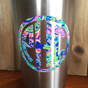 Lilly Pulitzer inspired monogram decal!