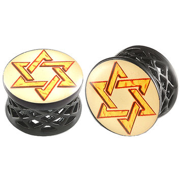 Shield Of David Logo Double-Flared Plug [Gauge: 5/8 inch - 16mm] Alloy (Black) // Set of 2