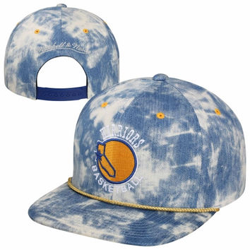 Mitchell & Ness Golden State Warriors Acid Wash Denim Solid Logo Snapback Hat - Blue