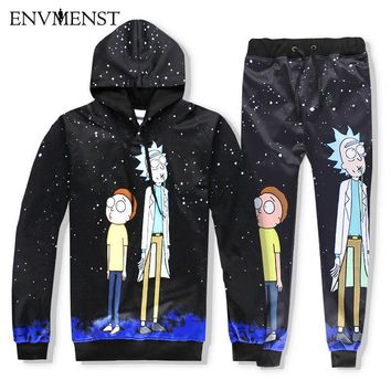 Envmenst 2017 Cartoon Rick And Morty Printed 3D Hoodies Men Sets Sweatshirt joggers Pullover Hooded Tracksuits Funny Men Hoodie