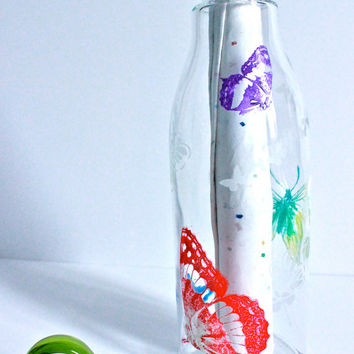 Hand Painted and Etched Glass Water/ Soda Bottle -- Butterfly