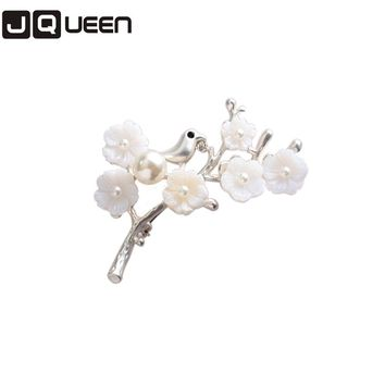 Lovely Silver Plated Alloy Plum Blossom Birds Brooch Girl Corsage Brooch Badge Factory Direct Sale Hijab Scarf Pins