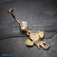 Golden Shri Ganesha Elephant Belly Button Ring