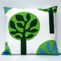 Set of 2 Decorative Pillow Covers 18 x 18 - IKEA Canvas - Trees on White