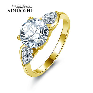 AINUOSHI 10K Solid Yellow Gold Wedding Ring Brilliant 2 ct Sona Simulated Diamond Engagement Band Women Anniversary Bridal Rings