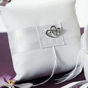 Classic Double Heart Square Ring Pillow Ivory