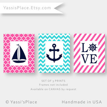 Pink and Aqua Nursery Decor for girl, Pink and Aqua Nautical Art,  set of 3 prints, Lovel, Sailboat and Anchor art by YassisPlace SBALPA-001