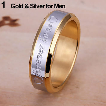 2015 Newest Women Men Forever Love Band  Engagement Ring Engraving Couple Promise Gold Plated Stainless Steel Ring Free Shipping