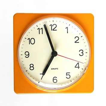 Vintage German Yellow Wall Clock - Krups 60s 70s