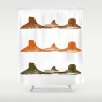 Monument Valley, 3 mountains, 3 colors Shower Curtain by Claude Gariepy