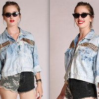 Studded Long Sleeve Acid Wash Denim Button Up Shirt