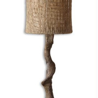 Buffet Table Lamp - Driftwood Body With Matte Black Base Molded From Hand Carved Original