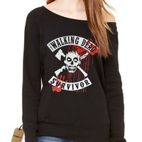 The Walking Dead Survivor Slouchy Off Shoulder Oversized Sweatshirt
