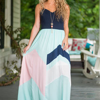 Different Strokes Maxi Dress, Mint-Navy