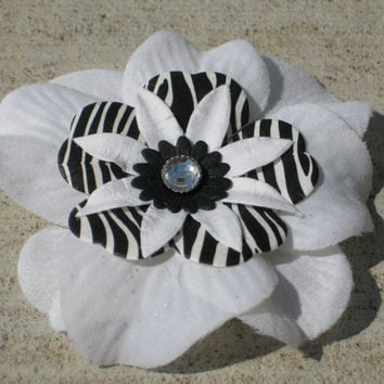 Hair Flower - Bright White and Jet Black Zebra Rhinestone Fascinator