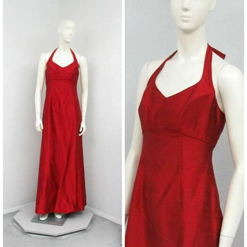 Vintage 90s Red Dupioni Silk Dress, Evening Gown, Formal Dress, Floor Length Dress, Halter Dress, Empire Waist Dress, A Line Dress