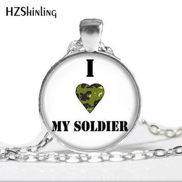 Military wife necklace Army wife pendant I love my soldier jewelry Military Necklace HZ1