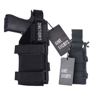 Gun Holster Molle Modular Belt Pistol Holster & Single Pistol Mag Pouch for Glock 17 19 22 23 31 32 34 35