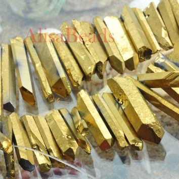 Raw Titanium Gold Quartz Spikes,faceted Nugget,Gold Plated Raw Quartz Crystal Pendant,4-7mmx15-38mm,beads,15 inches