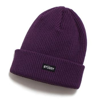 Small Patch Watch Cap Beanie Purple