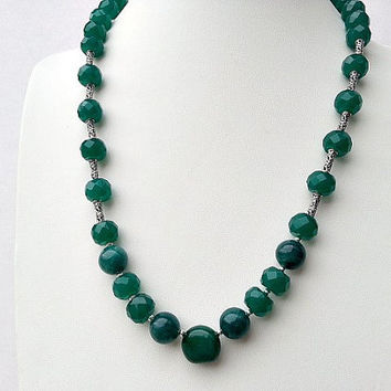 Long Emerald Green Onyx and Agate Statement Necklace May Birthstone