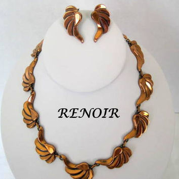 Renoir Necklace Earrings Enamel Copper