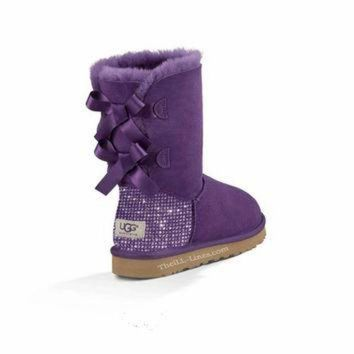 ICIK8X2 Custom Uggs, Purple Bailey Uggs, Bailey Bow Uggs, Uggs, Bling Uggs, Bedazzled Uggs, Pu