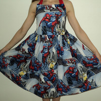 NEW Handmade VHTF Spiderman Blue Halter Dress Custom Sz 12M-12Yrs
